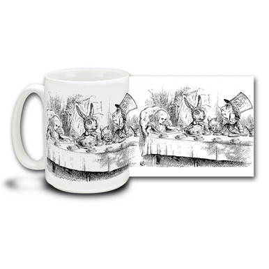 "Alice becomes a guest at a ""mad"" tea party along with the March Hare, the Hatter, and a very tired Dormouse who falls asleep frequently. Let them know were all mad here with this fanciful Alice's Adventures in Wonderland Mad Tea Party coffee mug."