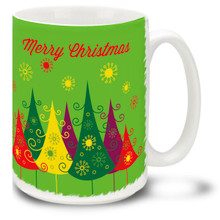 Warm up for the Holidays with this Christmas Traditions Colorful Retro Trees mug! Fifties styling and Merry Christmas message on this 15 oz Retro Christmas Trees Mug will make this durable, dishwasher and microwave safe coffee cup a welcome gift for the holidays!