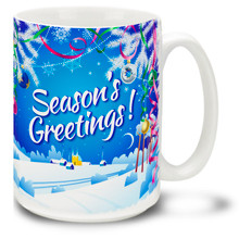 Spread some general cheer with this Christmas Traditions Season's Greetings mug! Colorful winter scene and cheery message on this 15 oz Season's Greetings Mug will make this durable, dishwasher and microwave safe coffee cup a welcome gift for the holidays!