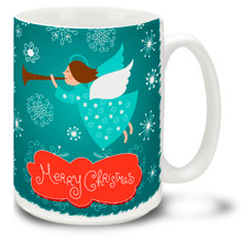 Take a flight of fancy with this Christmas Traditions Snow Angel mug! Trumpet in the holidays with a cheery Merry Christmas message on this 15 oz Christmas Angel Mug. Durable, dishwasher and microwave safe coffee cup makes a welcome gift for the holidays!