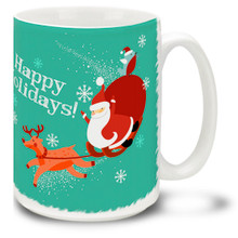 Santa takes to the air with a souped-up reindeer on this Christmas Funky Santa Happy Holidays mug! Bright colors and a general cheery Happy Holidays message make this 15 oz Santa Mug special. Durable, dishwasher and microwave safe coffee cup makes a welcome gift for the holidays!