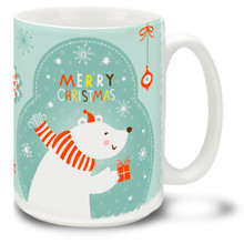 Sweet polar bear brings a warm greeting on this Christmas Funky Santa Polar Bear mug! Bright colors and a traditional Merry Christmas message make this 15 oz Christmas Bear Mug special. Durable, dishwasher and microwave safe coffee cup makes a welcome gift for the holidays!