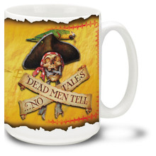 A stern pirate warning, complete with skull and crossbones and talkative parrot on this Pirate Coffee Mug. By famed pirate and adventure artist Don Maitz. 15oz Pirate Mug is dishwasher and microwave safe.