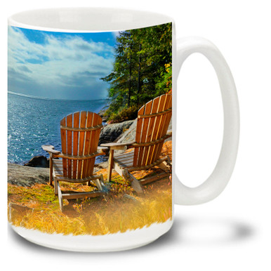 Relax in a cozy chair at the best spot on the lake with your favorite drink in this Adirondack mug! 15oz Adirondack Coffee Mug is dishwasher and microwave safe.