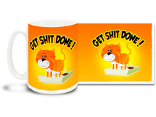 There is no time like the present to get it done! Take the good advise of this fun colorful coffee mug! 15 oz. Dishwasher safe.