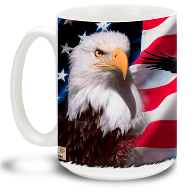 Show your pride in the United States of America with this colorful design featuring the American Flag on a Proud Bald Eagle coffee mug. 15oz Eagle Mug is dishwasher and microwave safe.