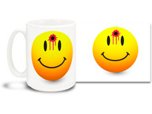 This fun mug is a twist on the classic Smiley Face icon! 15 oz coffee Mug is durable, dishwasher and microwave safe.