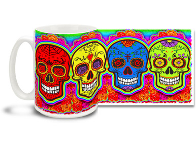 Can't decide on a color? Bright and vivid primary colors, pretty flowers and four different vivid colored sugar skulls make this Day of the Dead skull mug a keeper! Skulls coffee mug is durable, dishwasher and microwave safe.