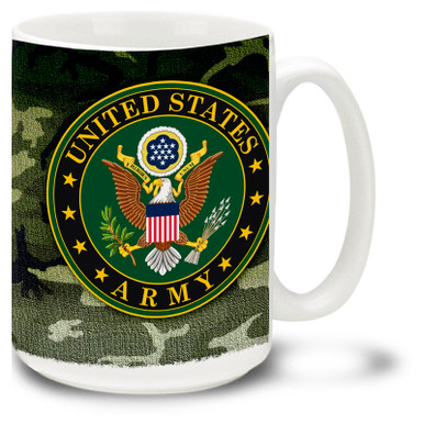 Show your pride in the United States Army with this Army coffee mug with approved crest on woodland camouflage. 15oz Army Mug is dishwasher and microwave safe.