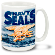 Show your pride in the United States Navy Seals with this Navy Coffee Mug with approved emblem. 15oz Navy Mug is dishwasher and microwave safe.
