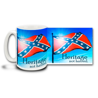 "Show your pride in Southern Heritage with this coffee mug featuring the Stars and Bars and ""Heritage Not Hatred"" slogan. 15oz Confederate Flag Mug is dishwasher and microwave safe. Get a Confederate Flag coffee cup."