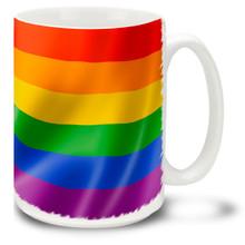 Rainbow Pride Wavy Flag Wrap 15 oz Mug