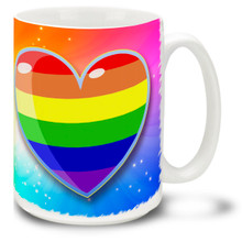 Rainbow Pride Happy Heart 15 oz Mug