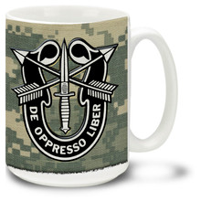 Show your pride in the United States Army with this Special Forces De Oppresso Liber emblem and patch Army Mug on Digital Camo. 15oz Army Special Forces Mug is dishwasher and microwave safe.