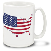 Flag and America Shape United States - 15oz Mug