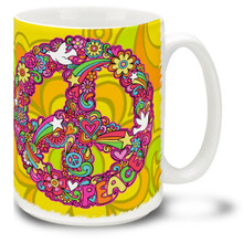 Flowery Peace Sign - 15oz Mug