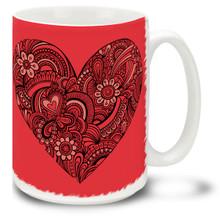 Henna Paisley Heart - 15oz Mug