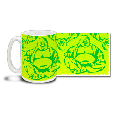 Share the joys of an easy day with this Laughing Buddha coffee mug. Brightly colored Laughing Buddha mug is durable, dishwasher and microwave safe.