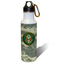United States Army Crest on ACU - 22oz. Stainless Steel Water Bottle