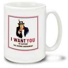 Stand up for your right to bear arms! Let the people around you know that you support the Second Amendment and that they should to. 15oz Second Amendment coffee mugs are, dishwasher and microwave safe.