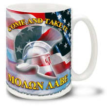 "Tell 'em to ""Come and Take It!"" in the original tongue of the Spartan warriors and on the good old Red, White and Blue! MOΛΩN ΛABE (Molon Labe) mug on American Flag is a good way to get your point across. 15-ounce ceramic Molon Labe coffee mug has comfortable 4-finger handle."