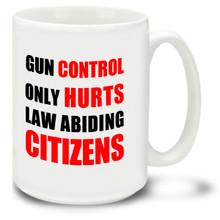 Enjoy your coffee while showing your views on gun control with this Gun Control Only Hurts mug! The 15-ounce ceramic Gun Control Only Hurts coffee mug has a comfortable 4-finger handle and is dishwasher and microwave safe.