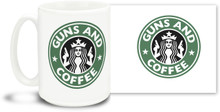 Enjoy your coffee with this new 15 oz Guns and Coffee Mug! The 15oz Mug is durable, dishwasher and microwave safe.