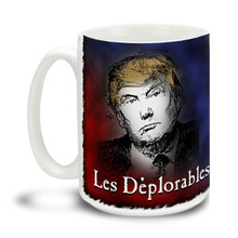Too proud not to wear an insult as a badge of honor, Donald Trump supporters are a special breed! This Les Deplorables Donald Trump mug is a hat tip to a popular Broadway play and is durable, dishwasher and microwave safe. Big 15-ounce ceramic coffee mug has comfortable 4-finger handle.