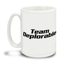 Too proud not to wear an insult as a badge of honor, Donald Trump supporters are a special breed! This Team Deplorable Donald Trump mug is durable, dishwasher and microwave safe. Big 15-ounce ceramic coffee mug has comfortable 4-finger handle.