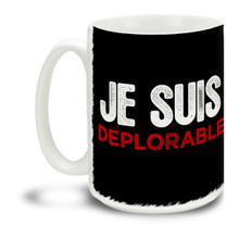 Too proud not to wear an insult as a badge of honor, Donald Trump supporters are a special breed! Je Suis Deplorable Donald Trump mug is durable, dishwasher and microwave safe. Big 15-ounce ceramic coffee mug has comfortable 4-finger handle.