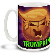 This Donald Trumpkin Halloween Pumpkin mug is dishwasher and microwave safe. Perfect for pumpkin spice coffee. Big 15-ounce ceramic coffee mug has comfortable 4-finger handle.