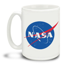 Explore the galaxy with a nice cup of coffee in hand with this NASA Meatball logo mug. Durable, dishwasher and microwave safe big 15-ounce ceramic coffee mug with comfortable 4-finger handle.