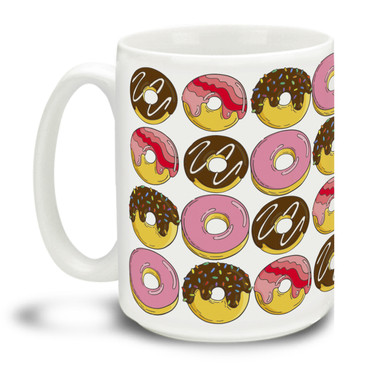 Are you a donut lover? What happier site could there be than endless donuts? This mug is a fun way to dunk your doughnuts in coffee! 15oz Endless Donuts coffee mugs are durable, dishwasher and microwave safe.