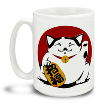 Let this lucky cat get your day started right! This mug is a fun way to dunk your doughnuts in coffee! 15oz Lucky Maneki Neko Cat coffee mugs are durable, dishwasher and microwave safe.