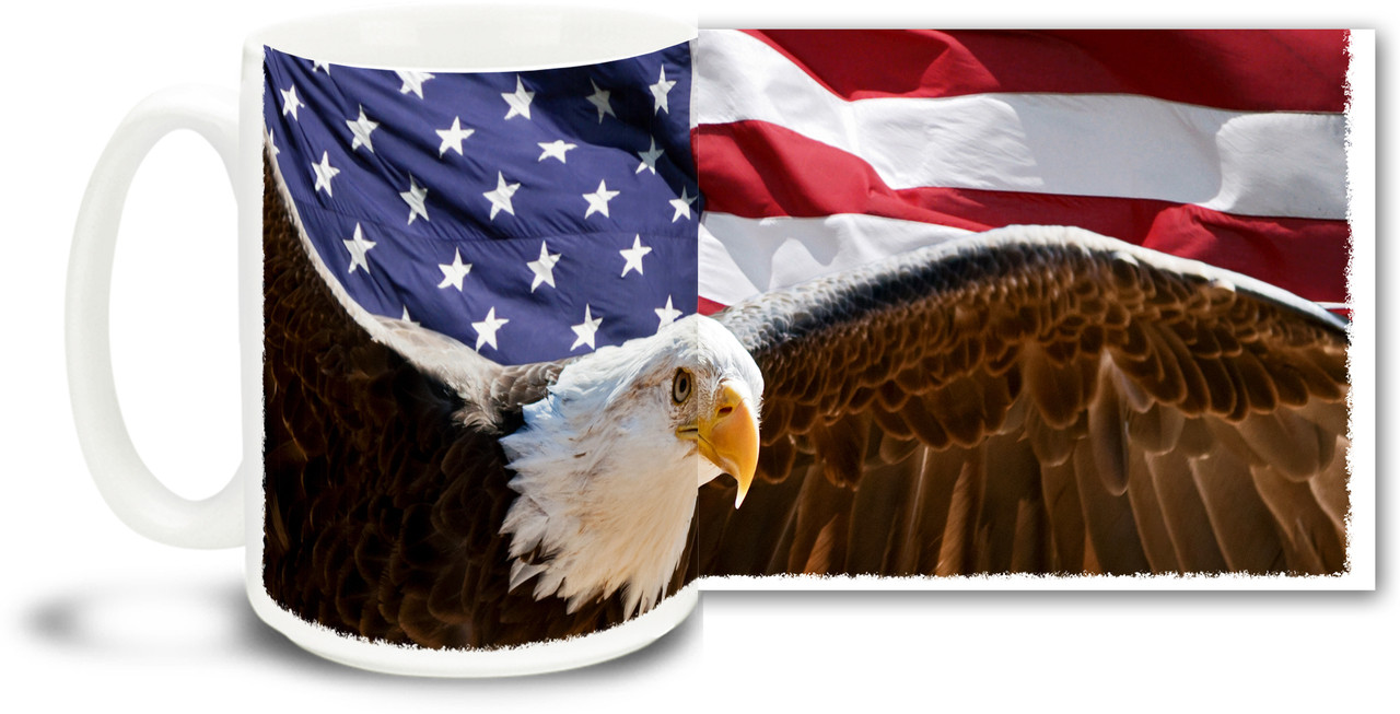 Patriotic Eagle with Rocket Personalized 15 oz Ceramic Coffee Mug