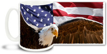 Feeling patriotic today? Show your love for America with a brand new patriotic mug show casing our nations flag and bird all on 1 mug! Durable, dishwasher and microwave safe big 15-ounce ceramic coffee mug with comfortable 4-finger handle.