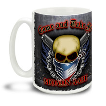 Dare 'em to try to Come and Take It with this Molon Labe Skull mug. This Second Amendment mug shows how you feel about open carry and the right to keep and bear arms! 15oz Come 'n Take it Skull Gun Mug is dishwasher and microwave safe.