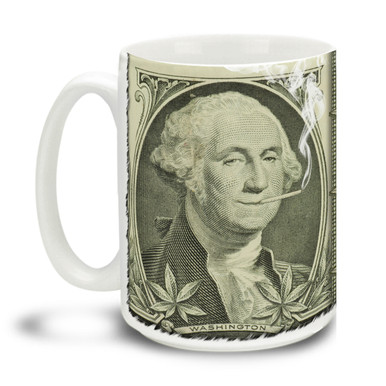 Lively yourself up with this In Hemp We Trust mug. George Washington was a big fan of hemp's many uses...! Durable, dishwasher and microwave safe big 15-ounce ceramic coffee mug with comfortable 4-finger handle.