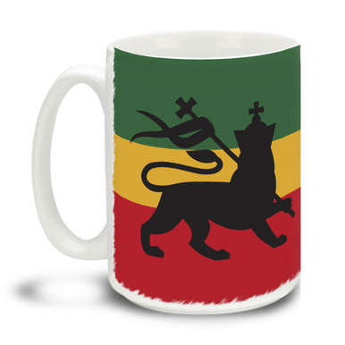 Lively yourself up with this Rastafarian Lion of Judah mug. Delightful rasta theme makes this the perfect leisure-time mug. Durable, dishwasher and microwave safe big 15-ounce ceramic coffee mug with comfortable 4-finger handle.