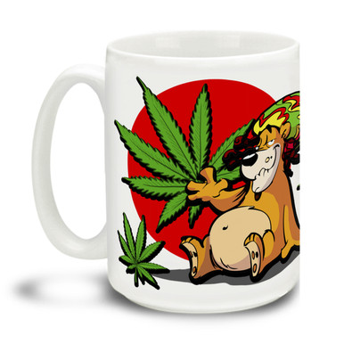Lively yourself up with a cute Rasta Lion Rocky Mountain High mug! Delightful marijuana theme makes this the perfect leisure-time mug. Durable, dishwasher and microwave safe big 15-ounce ceramic coffee mug with comfortable 4-finger handle.