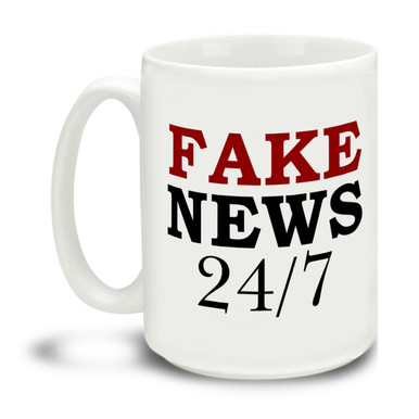 Wild and wacky media ramblings making you crazy? Show them you're in the know with this durable, dishwasher and microwave safe Fake News 24/7 mug . Big 15-ounce ceramic coffee mug has comfortable 4-finger handle.