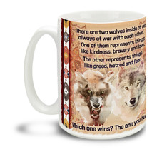 We all have two wolves inside of us, and morning coffee is a good time to remember this! Durable, dishwasher and microwave safe big 15-ounce ceramic coffee mug with inspirational Native American prose and comfortable 4-finger handle.