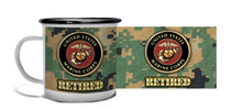 Retired Marine Crest On MCU Camo - Metal Camp Mug