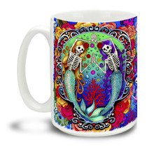 Start each day with some supernatural magic with this extremely colorful undead zombie mermaid skeleton undersea theme. (THAT should about cover it!) This brightly colored magical themed mug is a fun way to dunk your doughnuts. Fits in with yearly Day of the Dead celebrations and is a fun surf-themed mug as well. Durable, dishwasher and microwave safe big 15-ounce ceramic coffee mug with comfortable 4-finger handle.