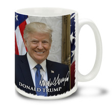 Donald Trump is the 45th President of the United States. Show your support with this durable, dishwasher and microwave safe Donald Trump President mug. #Trump #GOP #2A #POTUS #MAGA