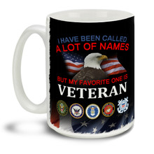 Those who served deserve everyone's respect and thanks! I've been called a lot of names but my favorite on is Veteran. Veteran's pride motto with branch insignia and Eagle American Flag background makes a great Veteran coffee mug. This patriotic Veteran's mug is durable, dishwasher and microwave safe.