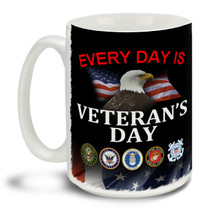 Those who served deserve everyone's respect and thanks! Make every day Veteran's Day with this pride motto, branch insignia and Eagle American Flag background mug, it makes a great Veteran coffee mug. This patriotic Veteran's mug is durable, dishwasher and microwave safe.
