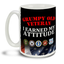 Those who served deserve everyone's respect and thanks! Show them you earned your grumpy attitude with this pride motto, branch insignia and Eagle American Flag background mug, it makes a great Veteran coffee mug. This patriotic Veteran's mug is durable, dishwasher and microwave safe.