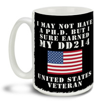 Those who served deserve everyone's respect and thanks! Show them you earned your attitude and your DD214 honorable discharge with this pride motto and American Flag background mug, it makes a great Veteran coffee mug. This patriotic Veteran's mug is durable, dishwasher and microwave safe.