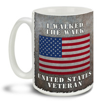 Those who served deserve everyone's respect and thanks! Anyone can talk the talk, show them you Walked the Walk with this pride motto and American Flag background mug, it makes a great Veteran coffee mug. This patriotic Veteran's mug is durable, dishwasher and microwave safe.